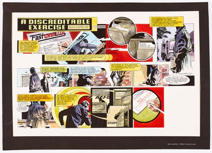 """""""A Discreditable Exercise"""" original double-page artwork by Frank Bellamy painted and signed by Frank Bellamy for The Sunday Times magazine (late 1960s). From the Bob Monkhouse Archive. Bright Pelikan inks on board. 28 x 20 ins"""