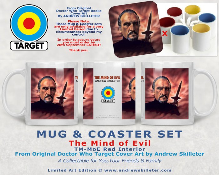 Doctor Who Target Books Retro Mug and Coasters - The Mind of Evil by Andrew Skilleter