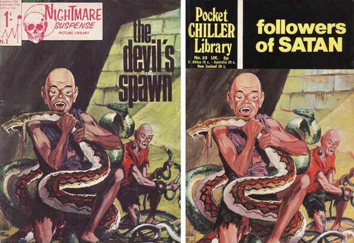 """Pocket Chiller Library Issue 23 """"Followers of Satan"""" originally debuted as Nightmare Suspense Picture Library Issue 7, """"The Devil's Disciple"""", utilising the same cover art"""