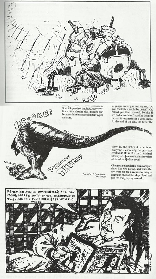 """A blast from the past! The first art Paul ever had published was in the Red Dwarf Fan Club magazine """"Better Than Life"""" in the late 1990s, when he was around 15. """"There's a bit of a fairly heavy Simon Davis influence in the last one as Sinister Dexter was my favourite strip at the time,"""" he shared in an online post after finding these recently"""