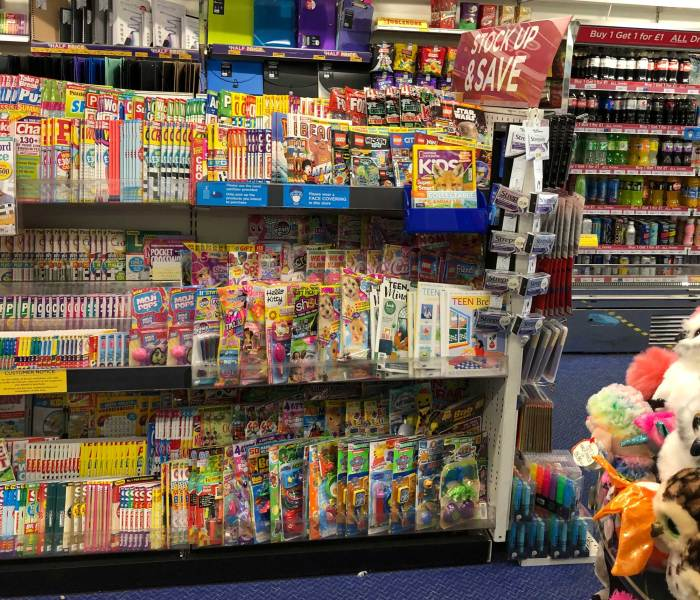 The children's comics and magazine rack in WHSmith Lancaster - August 2020