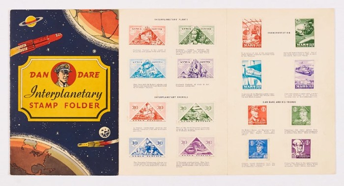 Dan Dare Interplanetary Stamp Folder (1953). Lifebuoy Soap giveaway. Complete with all 32 stamps