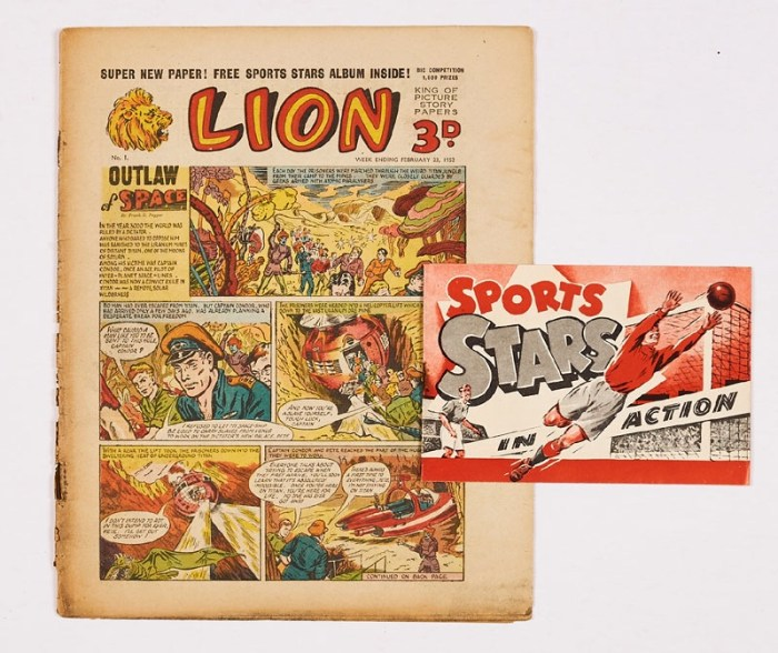 Lion No 1 (1952) with free gift Sports Stars in Action booklet