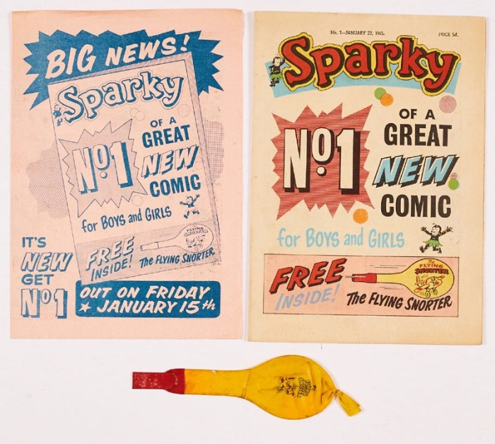 Sparky No 1 (1965) with Flying Snorter Free gift and original four page Flyer for No 1