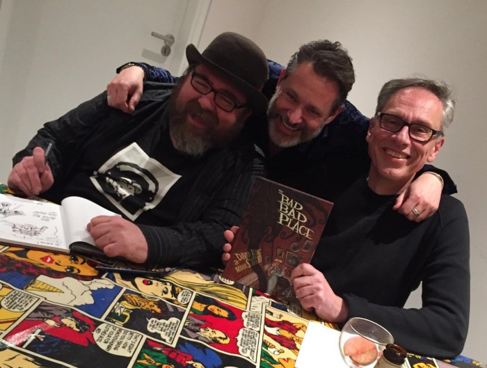 Artist Mark Stafford, Soaring Penguin Press' Tim Pilcher and artist and writer David Hine at the launch of The Bad Bad Place at the Cartoon Museum last November. Photo: Soaring Penguin Press