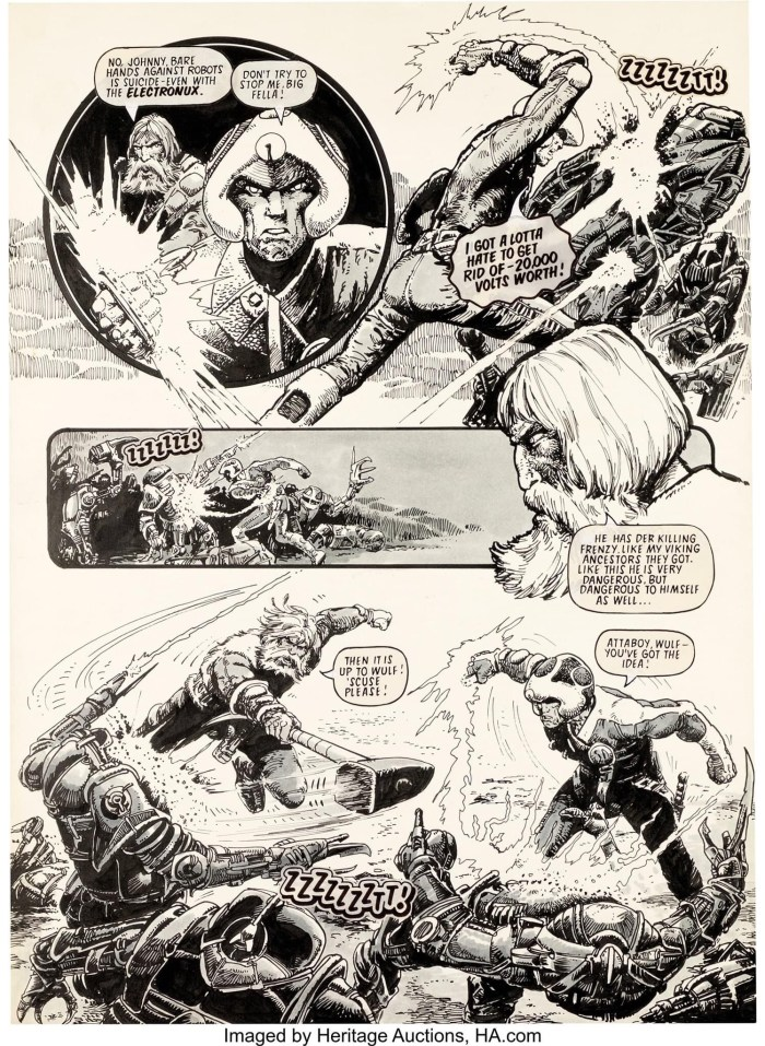"""Carlos Ezquerra art for the Strontium Dog story """"Death At Warp Factor 9"""". Original Art Story Page 18 (IPC Magazines, 1978). This page 18 is probably one of the best-known early visuals from the strip featuring Johnny Alpha and Wulf Sternhammer in action, first time offered. India ink on thick plate with an image area of 13.5"""" x 19"""". In Excellent Condition. From the Ezquerra Collection"""