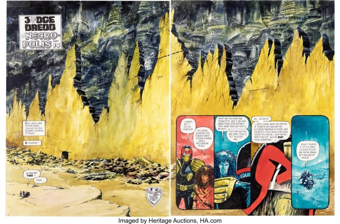 """Carlos Ezquerra art for the Judge Dredd story """"Necropolis"""" published in 2000AD Prog 687. Original Art Double Splash Page 12 & 13 (2000AD, 1990). Necropolis was a major turning point in the long-running Democracy story arc. The story also reintroduced the character Judge McGruder, Judge Death and his fellow Dark Judges . It also introduced the """"Sisters of Death,"""" saw the deaths of Judge Kraken (Dredd Clone-Brother), Judge Odell, and Chief Judge Silver. Set in the year 2112, the story concerns the tragedy that befalls Mega-City One following the resignation of Judge Dredd in """"Tale of the Dead Man"""". Don't be fooled this DPS by the hand of legend Carlos Ezquerra is THE ultimate DPS of Necropolis. Mixed media on Bristol paper with a large image area of 26.5"""" x 18"""". 2000 AD stamp on the back. The bubbles are affixed to a transparent acetates. In Excellent Condition. From the Ezquerra Collection"""