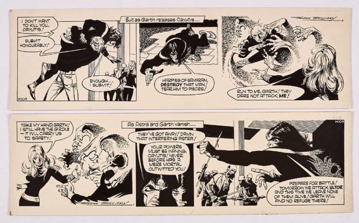 Garth: 'The Beast of Ultor'. Two original consecutive artworks (1974) drawn and signed by Frank Bellamy for the Daily Mirror 9-10 May 1974. Indian ink on board. 21 x 7 ins (x2)