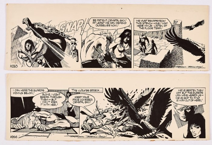 Garth: 'The Bride of Jenghiz Khan'. Two original consecutive artworks (1974) drawn and signed by Frank Bellamy for the Daily Mirror 11-12 November 1974. Indian ink on board. 21 x 7 ins (x2)