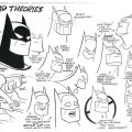 "Batman by Bruce Timm. Do you want to build a masked vigilante? Bruce Timm's hand script and design, from the Batman Animated Series Bible. ""Learn how to draw Batsy's head,"" offers animator Ronnie Del Carmen. ""What do to & what not to do. I kept placing the mouth lower than indicated so watch out for that"""