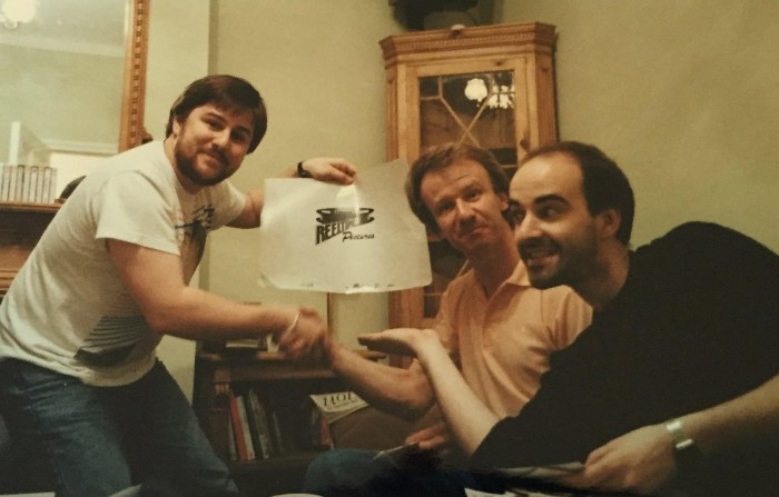 Animator and documentary producer and director Kevin Davies, Reeltime Pictures Keith Barnfather and actor and writer Nicholas Briggs, snapped during a meeting to discuss an animated Daleks project pitched directly to Terry Nation, back in the 1990s. (Nicholas was not directly involved in this project's development). Photo: John Freeman
