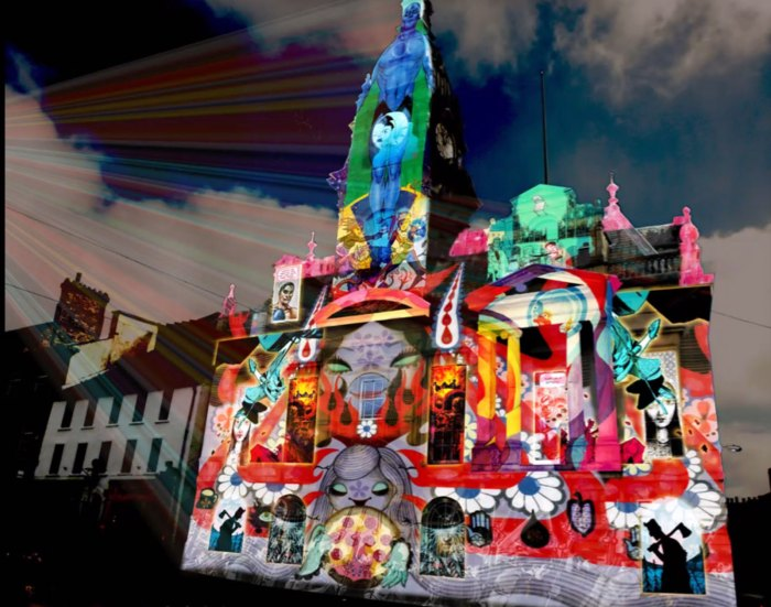 "The planned Illuminos-created ""Light Up"" of Kendal Town Hall, taking place the weekend before the virtual LICAF Live"