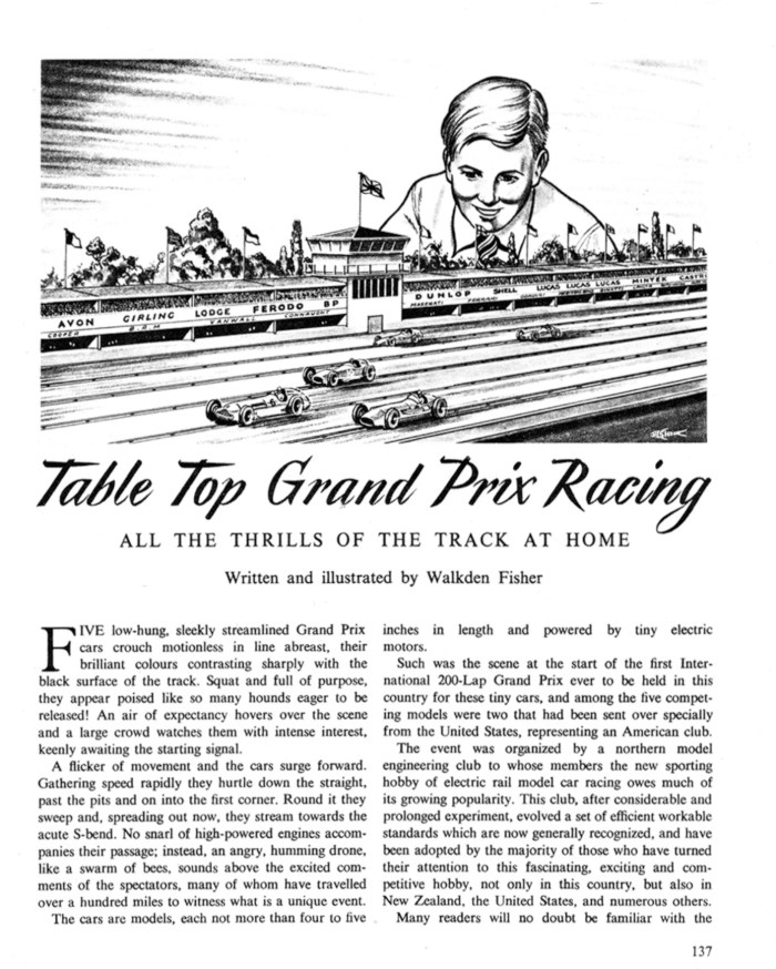 The opening page of Walkden Fisher's slot car racing article for the Eagle Annual Volume 8. Contemporary photographs suggest it is his son who was the model for the racing fan admiring the track