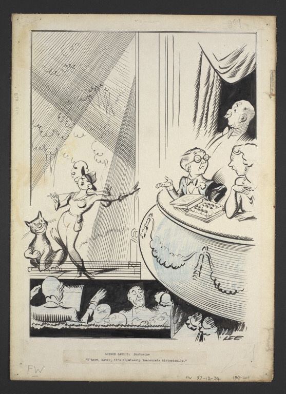 """An early """"London Laughs"""" by Joseph Lee, based on the 1934 production of Dick Whittington at London's Lyceum Theatre. Held by the V&A"""