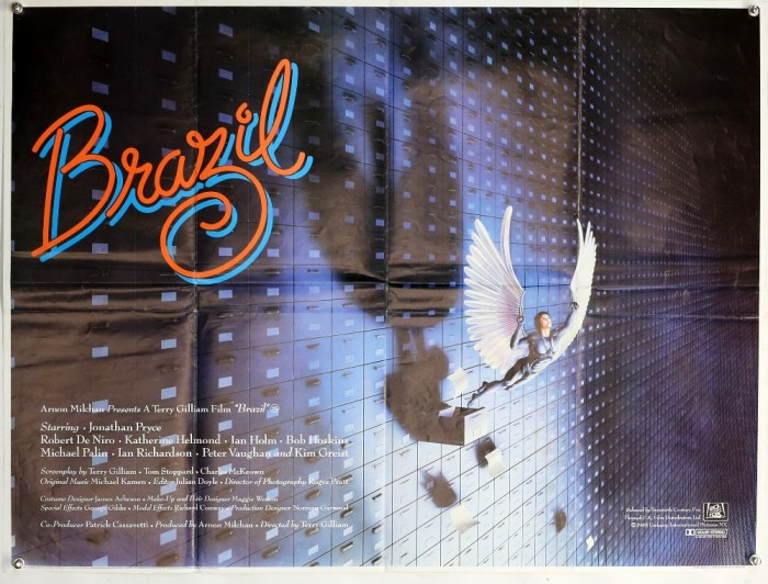 Brazil (1985) British Quad film poster, rare 'withdrawn' design after a fall out between Terry Gilliam (Director) & the distributor over film length, folded, 30 x 40 inches