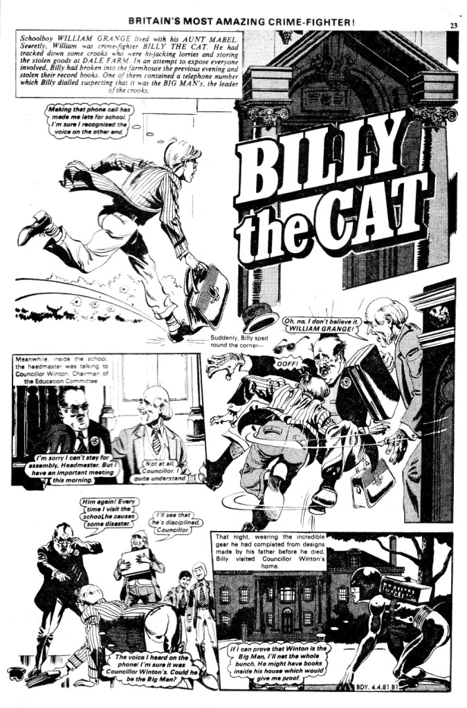 "The opening page of ""Billy the Cat"" from Buddy No. 8, published in 1981 © DC Thomson Media"