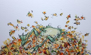 Frog in Autumn Leaves by ItsNotAboutWork
