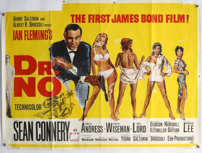 James Bond Dr No (1962) British Quad film poster for the first James Bond film, illustration by Mitchell Hooks, starring Sean Connery, folded, 30 x 40 inches. Clean bright colours, paper loss section upper left, and to all other corners, snipe has been removed, some paper lift to other areas. Some creasing. With restoration could be a very good purchase