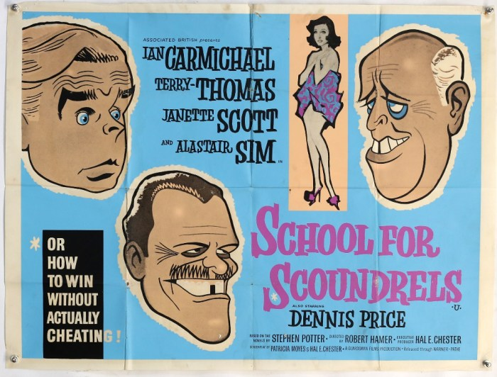 School for Scoundrels (1960) British Quad film poster, starring Ian Carmichael and Terry Thomas, folded, 30 x 40 inches