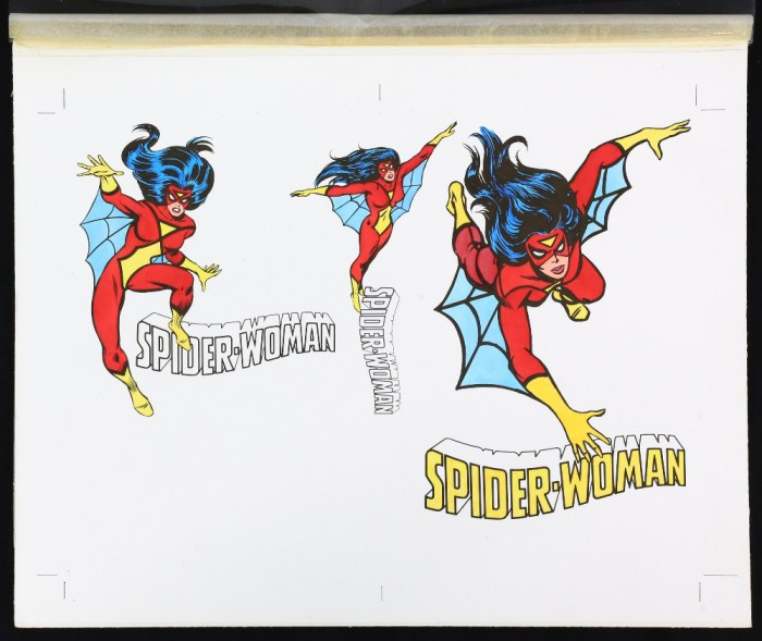 Spider-Woman - Original artwork for the VHS cover 'Cassette 2' (1984), with acetate and paper overlay showing colour options, details and layouts, on board, 27 x 34 cm.