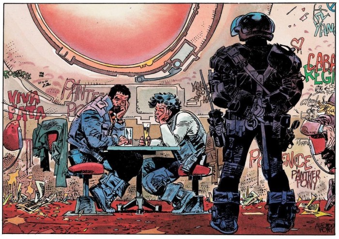 A panel from Alfoso Font's SF series Clarke & Kubrick
