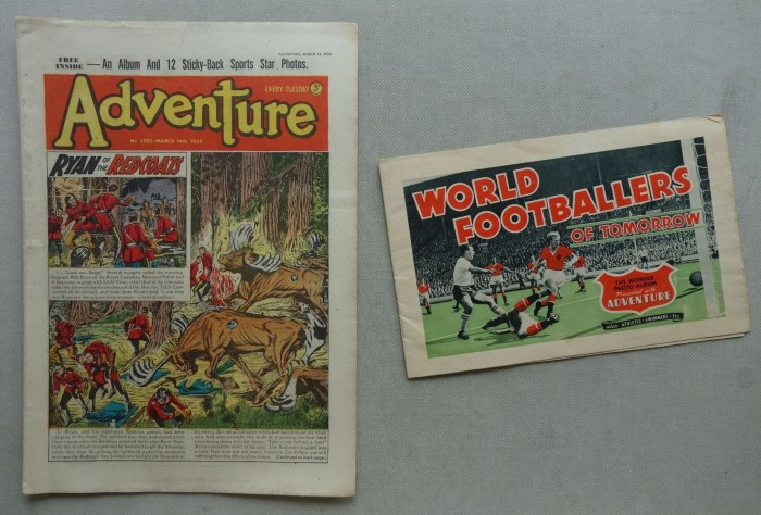 Adventure story paper No. 1782 - cover dated 14th March 1959 with free gift album for football cards