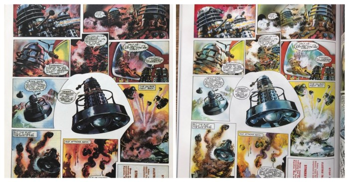 """A quick comparison of how the 1994 Marvel UK Dalek Chronicles collection looks next to the newly restored release. """"The enhanced colours and clean line work are a real treat,"""" notes @DalekTweets"""
