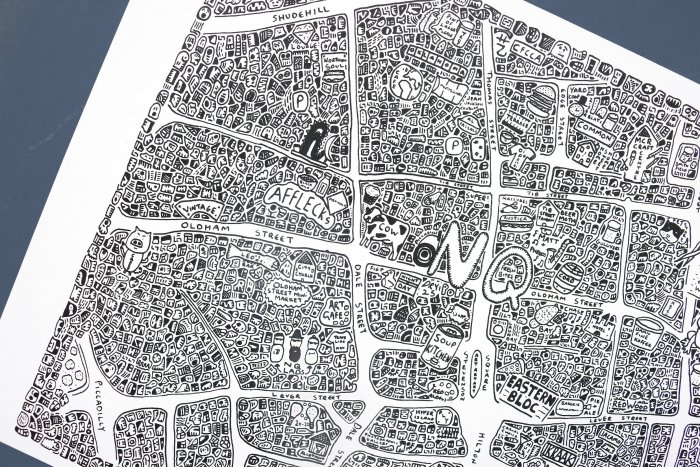 Dave Gee's Doodle Map -Manchester's Northern Quarter
