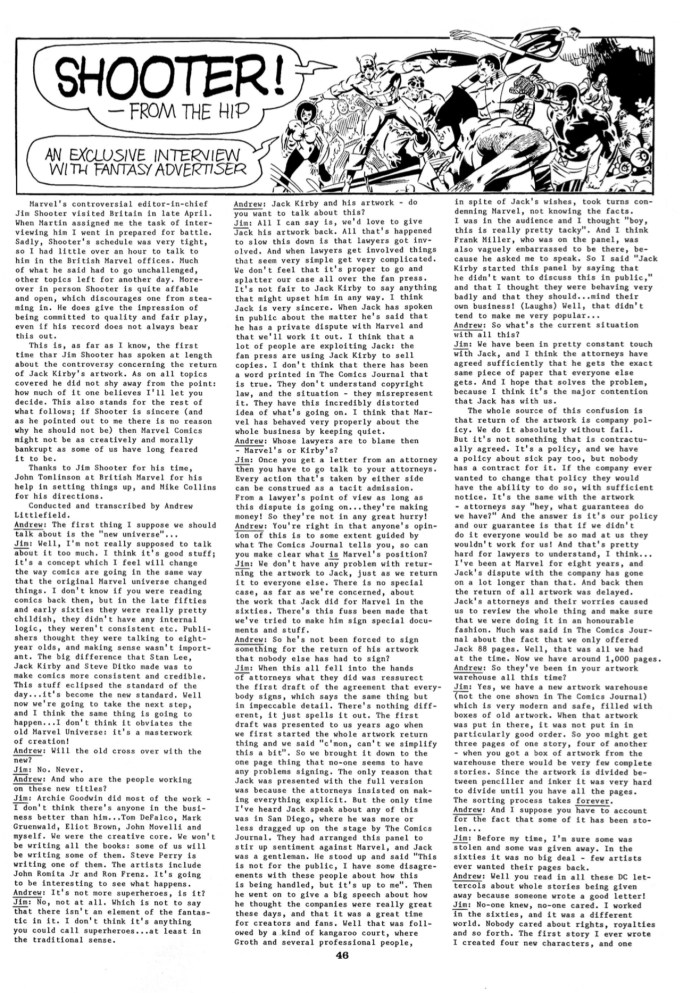FA (Fantasy Advertiser) Issue 97- Sample Page Jim Shooter