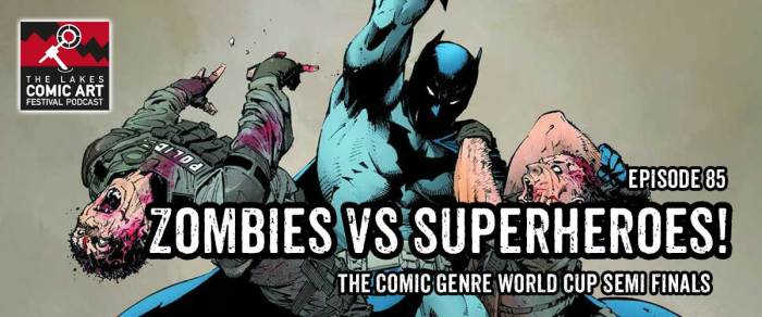 """Comic Art Festival Podcast Comics presents the """"Comic Genre World Cup Semi Finals"""" - Episode 85. Art from DCeased by Tom Taylor and artists Trevor Harisine (Legends of the Dark Knight) and Stefano Gaudiano"""