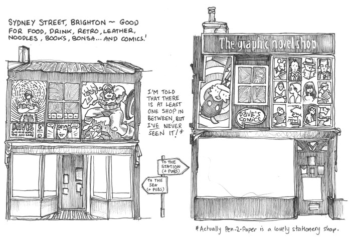 """""""I went out to draw @DavesComics yesterday and it's sad to see the street empty of people for the whole time,"""" says Brighton-based Simon Russell. """"I miss going in to that shop(s) a whole bunch."""""""