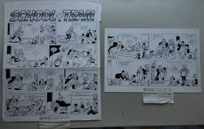 """Robert Nixon Comic Art for Buster - """"School Team"""" for the issue cover dated 27th July 1985"""