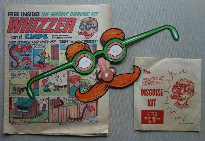 Whizzer and Chips cover dated 28th February 1970, with free Disguise Kit gift