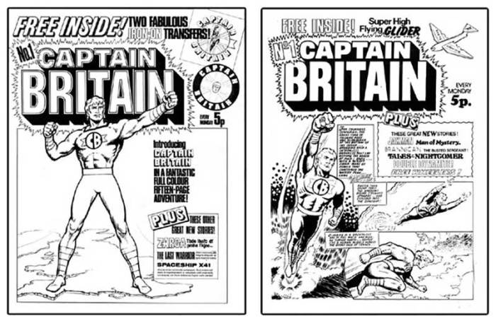 """""""Maxwell Hawke artist Eric Bradbury got the job of drawing IPC's new patriotic hero,"""" notes Dez Skinn, """"following an intense search for a superhero artist in IPC's ranks. But they just couldn't decide on the cover look. Free transfers? Free glider? Tough call!"""""""