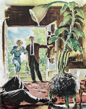 """An illustration for the second chapter in Collier's adaptation of The Day of the Triffids, published as """"Revolt of the Triffids"""". Art by Fred Banbery"""