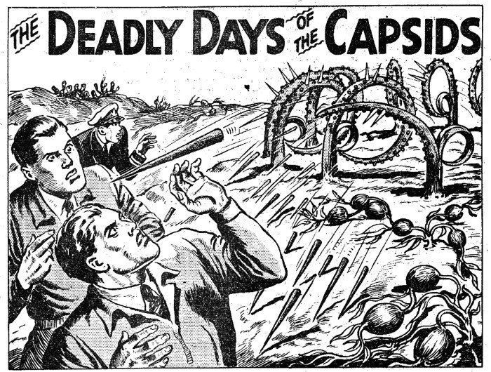 """An illustration for the continuing text story """"The Deadly Days of the Capsids"""" from Rover 1584, cover dated 5th November 1955 © DC Thomson Media"""