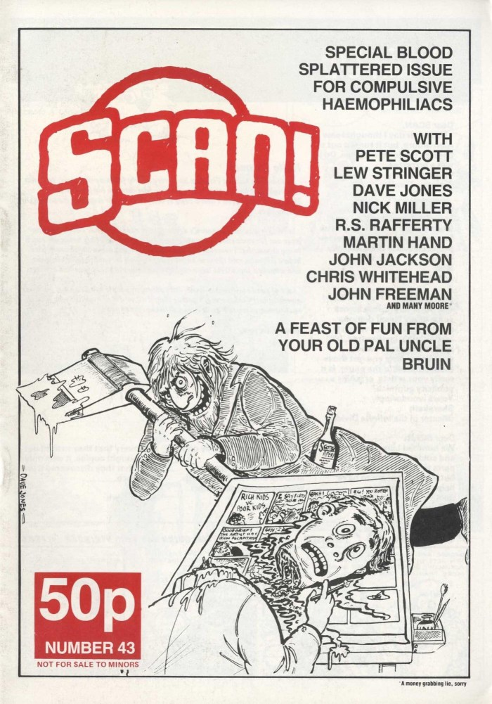 The cover of 1980s strip zine SCAN Issue 43 by Davey Jones, today a stalwart of VIZ