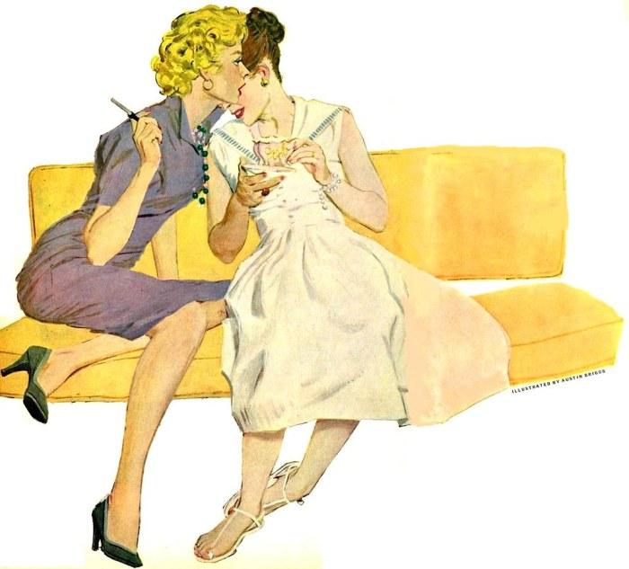 Women share a secret. Illustration by Austin Briggs