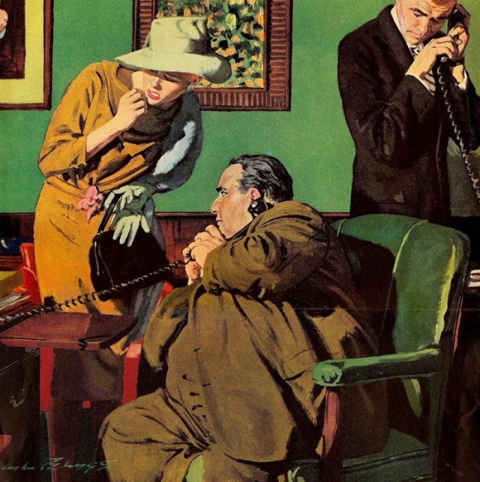 """An illustration for a """"Nero Wolfe"""" story by Austin Briggs for the Saturday Evening Post. Via ArtContrarian"""