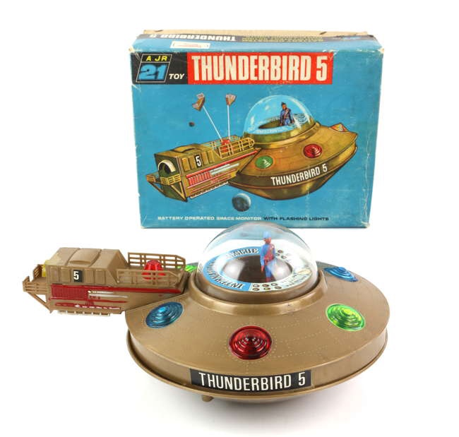Thunderbirds JR 21 Toy Thunderbirds 5, in brown plastic, plastic figure, in original box with inner packaging and brown strip. Box dimensions 20 x 26 x 12 cm. Image: Ewbanks