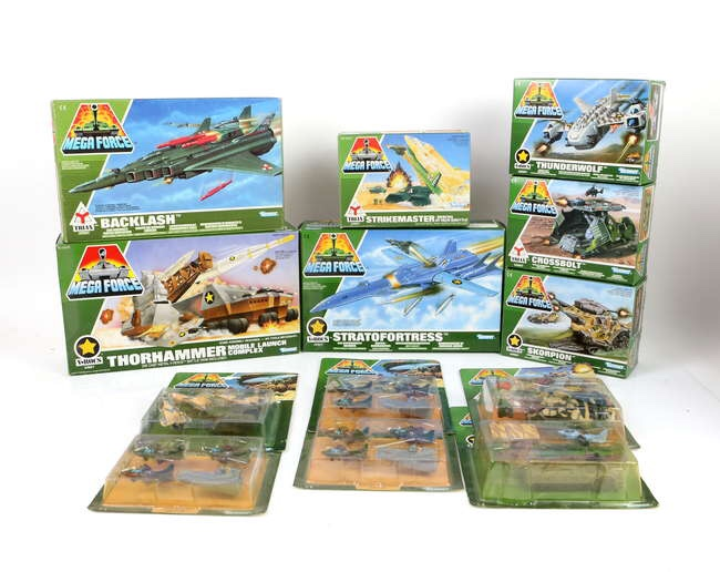Collection of Kenner Mega Force plastic models, to include Battle Tanks, Stratofortress, Thornhammer Mobile Launch Complex, Crossbolt and others. Image: Ewbanks
