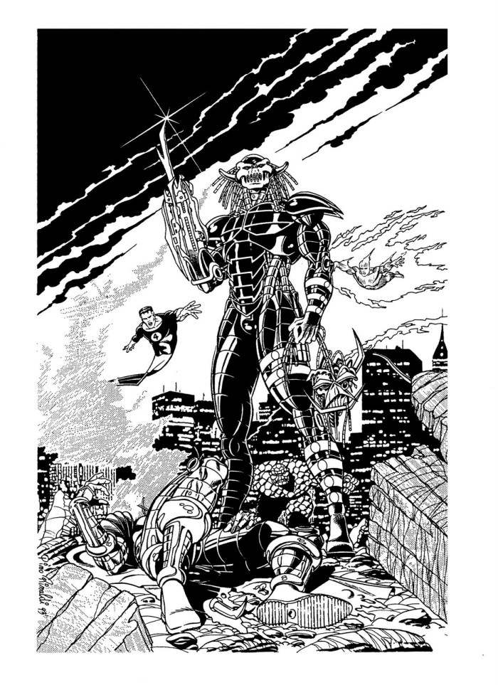 This illustration of Death's Head II by Pino Rinaldi featured in Marvel Italia's Wild Angels collection