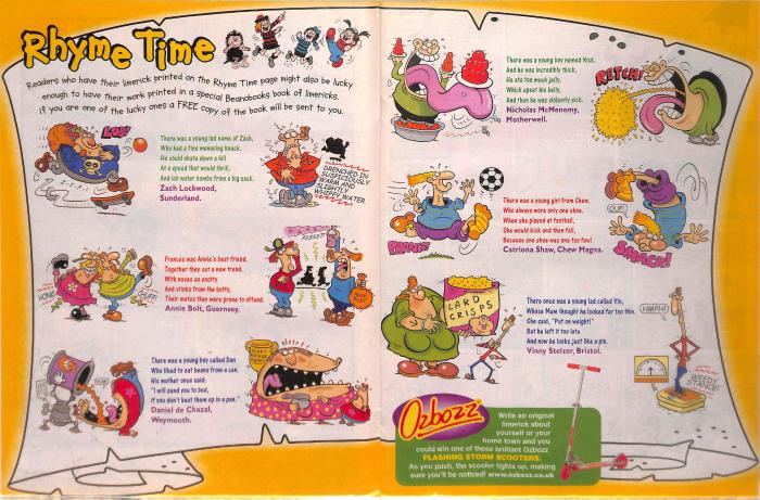 """The Beano's """"Rhyme Time"""" feature by Duncan Scott (2005)"""