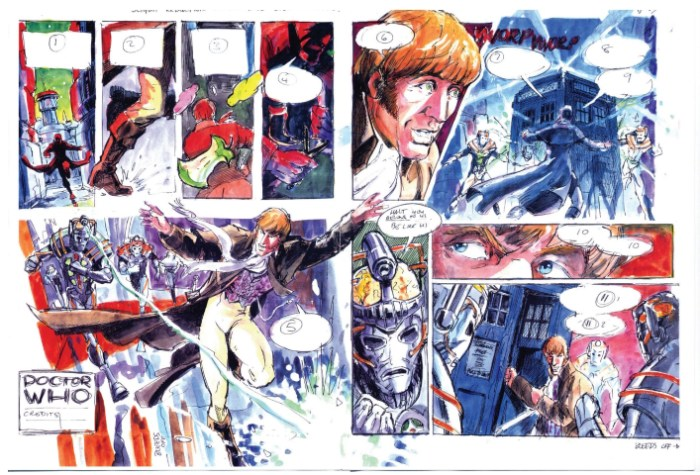 Full colour rough of strip. Now using the revised version of the new Doctor