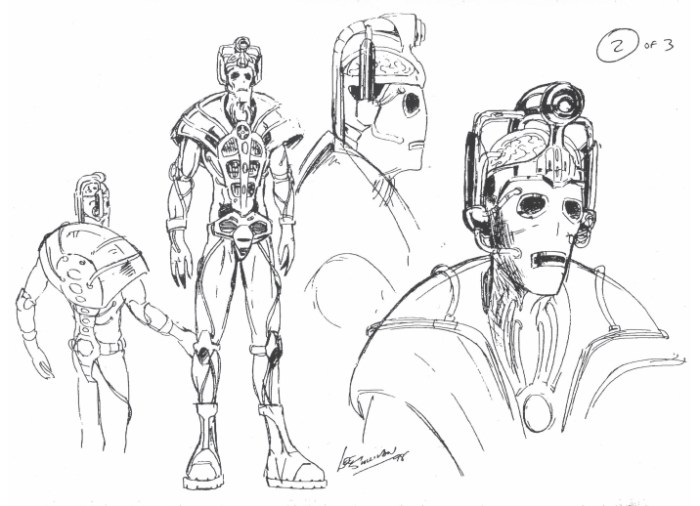 Concept designs for Cybermen by Lee Sullivan. Mixing  hi-tech, exposed brains and cloth mask as per the original  Hartnell era designs.
