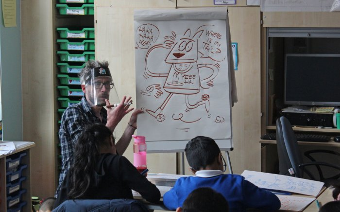 Marc Jackson at Abraham Moss Community School for the Comic Art Europe Comics Literacy project. Photo: Chay Edwards