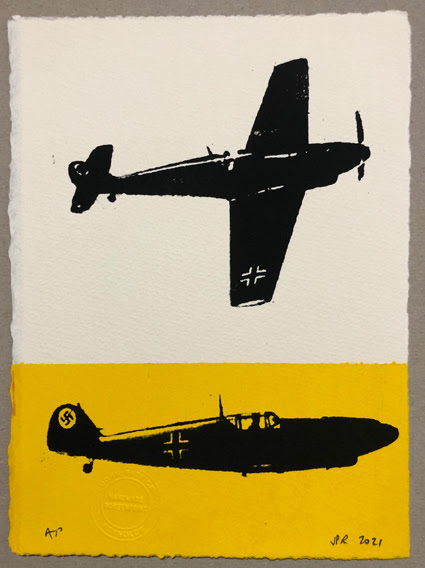 The Messerschmitt 109. Silhouetted on white and yellow. AP (26x19cms)