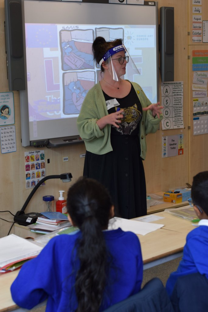 Rachael Smith at Abraham Moss Community School for the Comic Art Europe Comics Literacy project. Photo: Chay Edwards