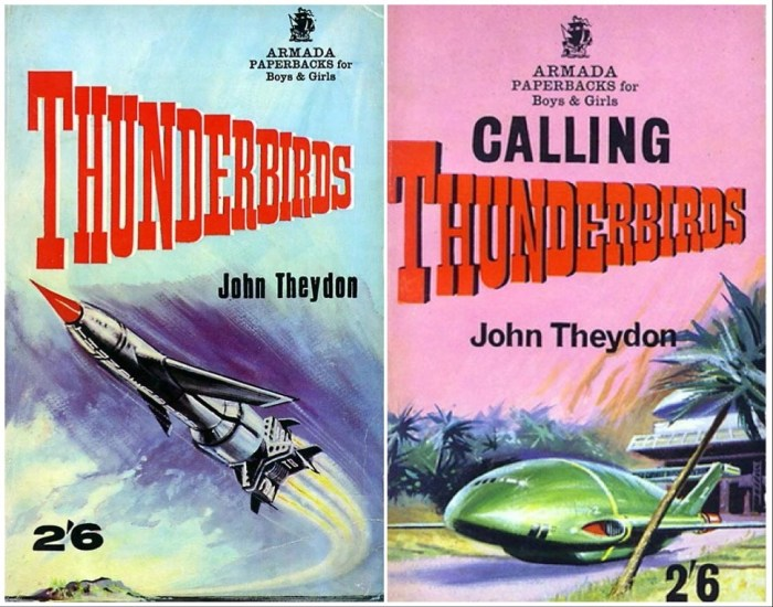 Covers of the original Thunderbirds novels released in the 1960s, published by Armada, featuring internal illustrations by Peter Archer