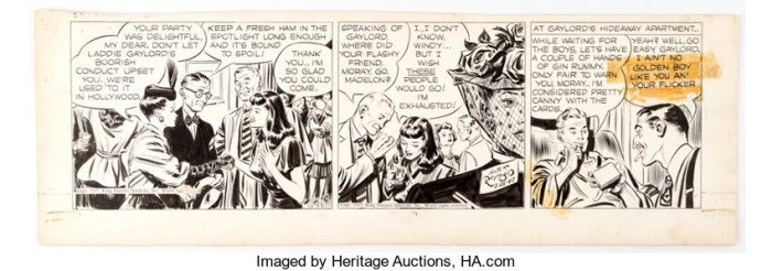 Rip Kirby Daily Comic Strip Original Art dated 25th March 1947 (King Features Syndicate, 1947). Via Heritage Auctions